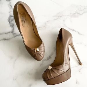 Valentino Taupe Leather Rockstud Pumps Shoes